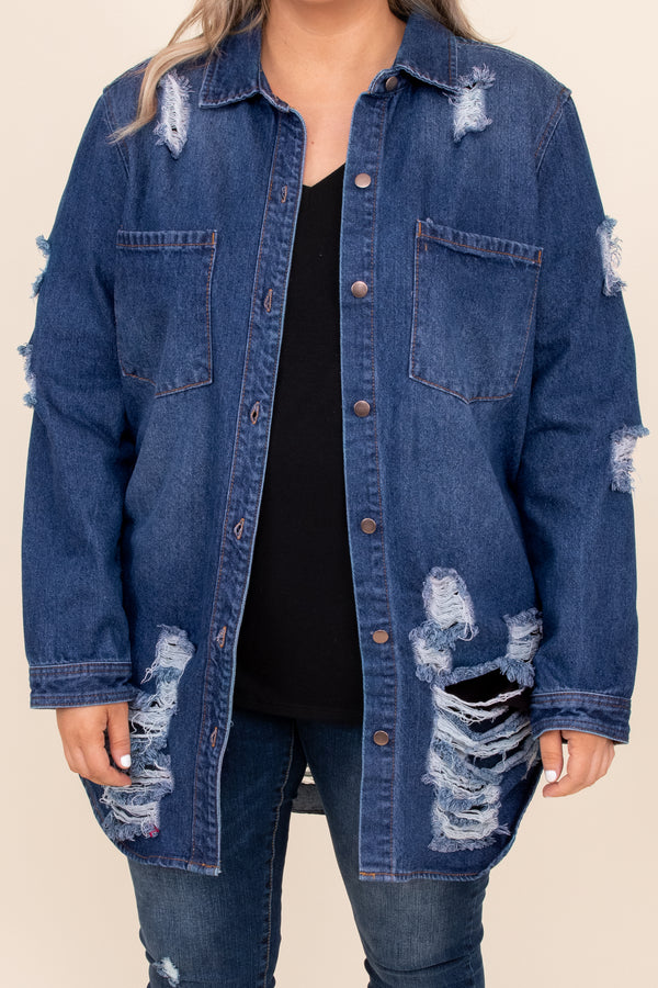 top, coat, jacket, jean jacket, blue, denim, distressed, long sleeve