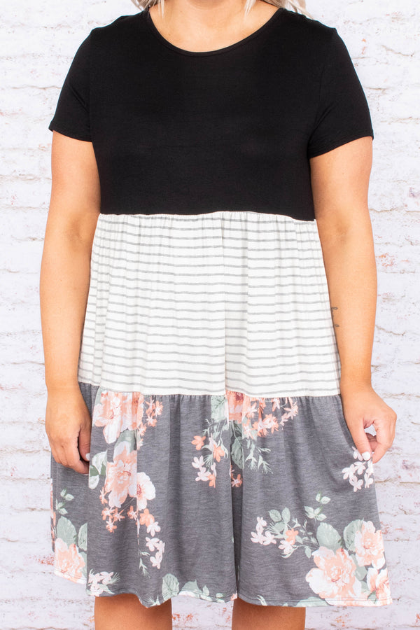 dress, short sleeve, tiered, color block, black, black and white stripe, charcoal floral