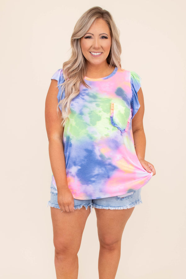 shirt, top, short sleeve, pocket, ruffle detailing, tie dye, cap sleeve, ruffle sleeve, bright, navy, yellow, pink, green