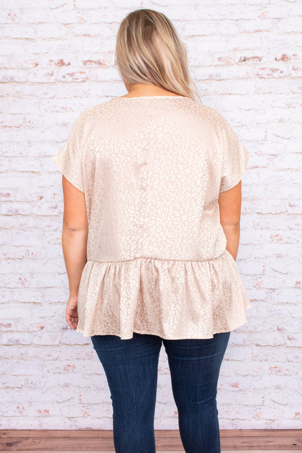 shirt, top, short sleeve, baby doll, taupe, leopard, subtle, loose, comfy