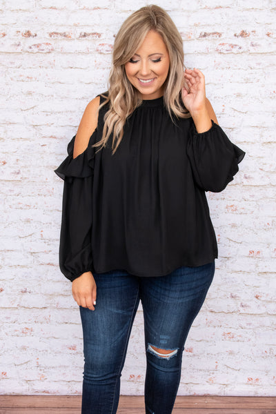 top, casual top, black, solid, long sleeve, cold shoulder, dressy