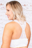 bralette, racer back, lace, thick straps, white