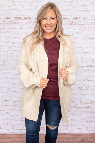 solid, long sleeve, white, top, cardigan