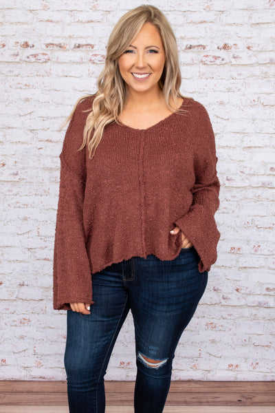 top, sweater, red, solid, long sleeve, v neck