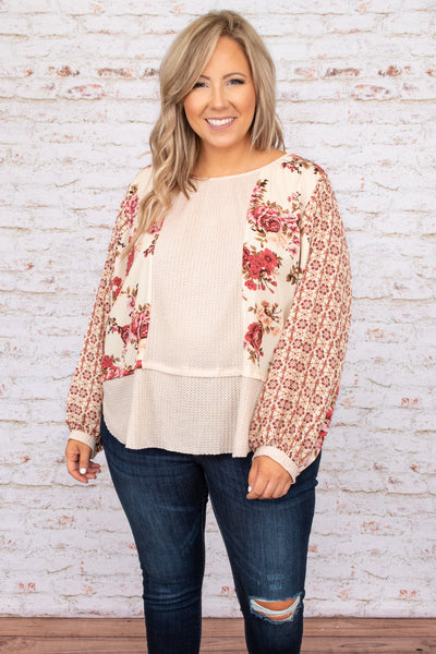 top, casual top, brown, floral, long sleep, fall, flattering, comfy