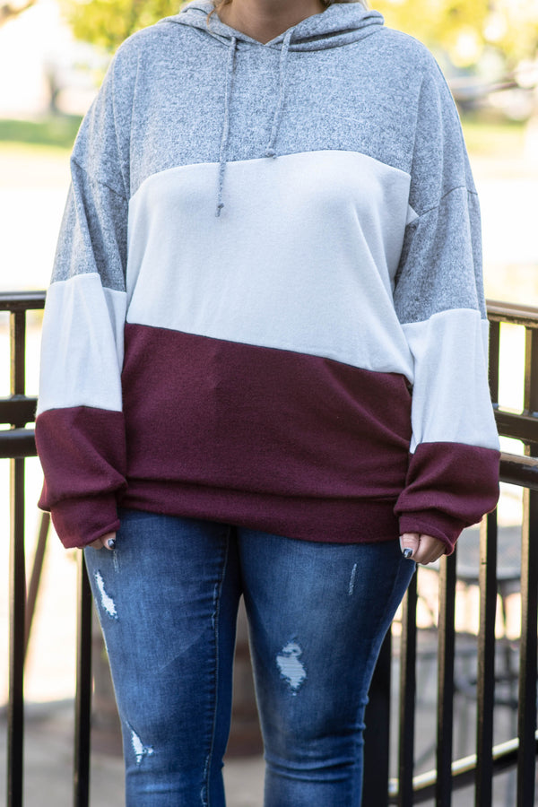 hoodie, long sleeve, hood, drawstrings, gray, white, maroon, colorblock, comfy, outerwear, fall, winter