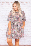 dress, short, short sleeve, pockets, paisley, black, purple, pink, yellow, white, flowy, comfy