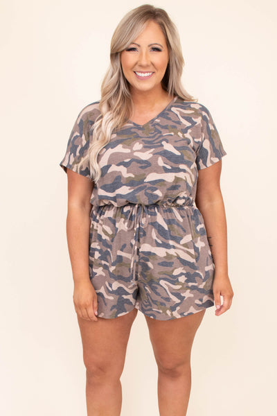 romper, shorts, short sleeve, camo, v neck, drawstring waist, tie in back neckline, green, taupe, loose, comfy