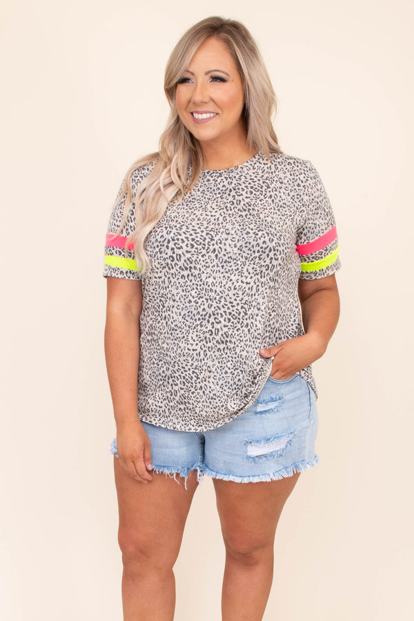 shirt, top, short sleeve, leopard, grey, black, ivory, neon striped sleeves, pink, green, loose, comfy