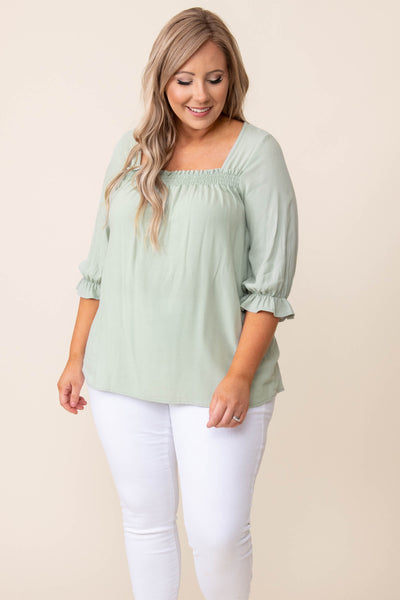 top, shirt, blouse, sage, solid, three quarter sleeve
