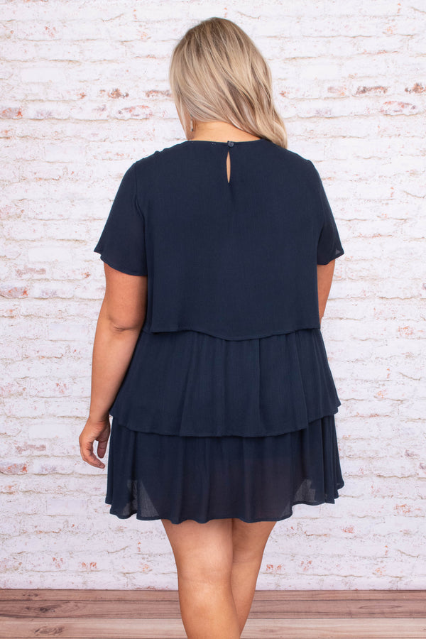 dress, short dress, short sleeve, baby doll, ruffles, tiers, navy, blue, loose, comfy