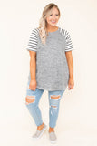 shirt, short sleeve, curved hem, comfy, flowy, gray, heathered, striped sleeves
