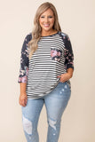 top, casual, white, flipe, three quarter sleeve, pink, floral, stripe