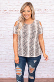 shirt, top, off the shoulder, cold shoulder, print, short sleeve, snakeskin, loose, comfy, mocha
