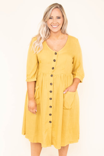dress, midi, three quarter sleeves, scoop neck, button down, fitted waist, pockets, yellow, solid, flowy, comfy, spring, summer, fall