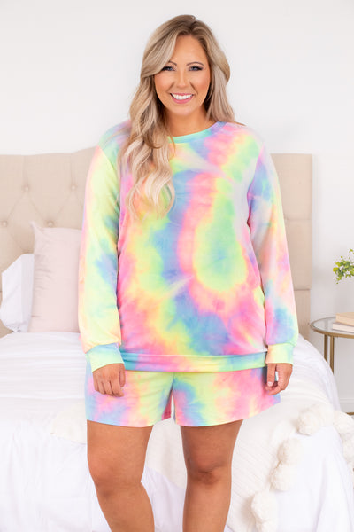 shirt, top, long sleeve, lounge wear, lounge top, tie dye, pink, yellow, blue, multi, loose, comfy