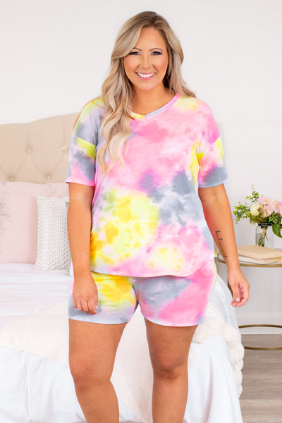 shirt, top, short sleeve, tie dye, v neck, loose, comfy, lounge wear, lounge shirt, yellow, grey, pink