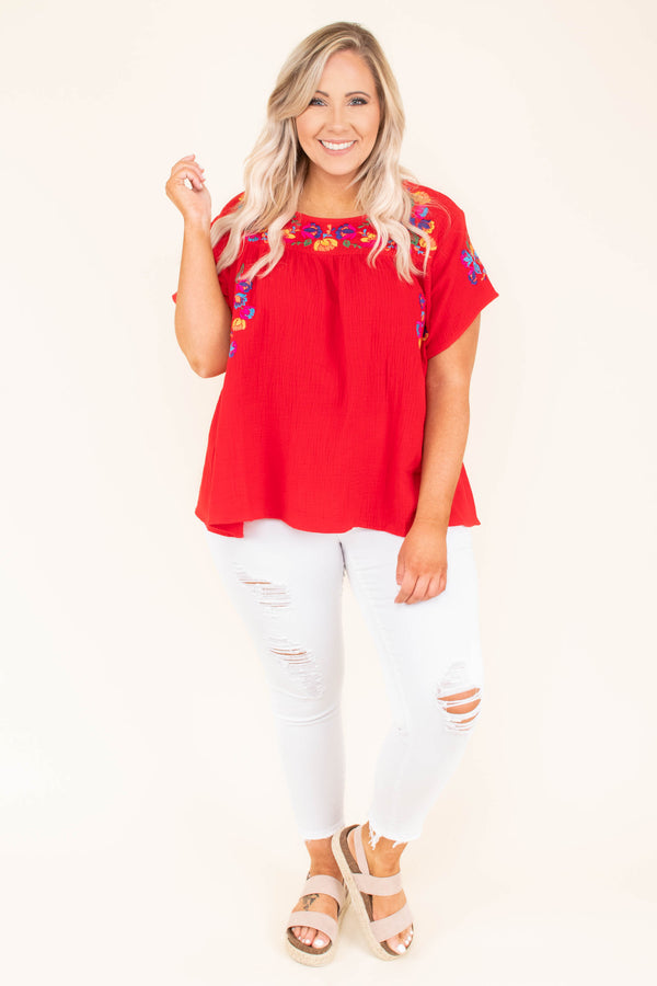 shirt, short sleeve, short, flowy, red, embroidery, yellow, green, blue, comfy