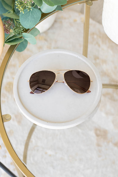 accessory, sunglasses, gold, solid, brown