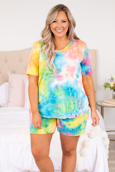 shirt, top, lounge wear, lounge top, tie dye, coral, mint, blue, yellow, bright, tie dye, v neck, loose, comfy