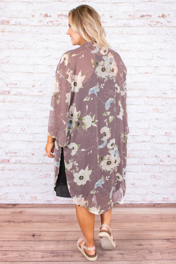 kimono, long sleeve, long, flowy, sheer, bell sleeves, mauve, floral, white, blue, green, spring, summer