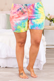 pants, shorts, lounge wear, lounge shorts, above the knee, tie dye, loose, comfy, elastic waist band, coral, mint, yellow, blue, pockets