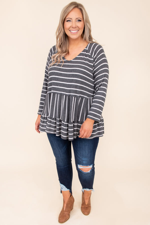 top, casual top, babydoll top, black, ivory, striped, long sleeve, vneck, casual, comfy
