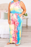 jumpsuit, pants, long, tie dye, drawstring waist, tank top, sleeveless, pockets, pink, yellow