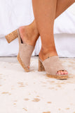 shoes, wedges, cork bottom, heel, block heel, faux suede, taupe