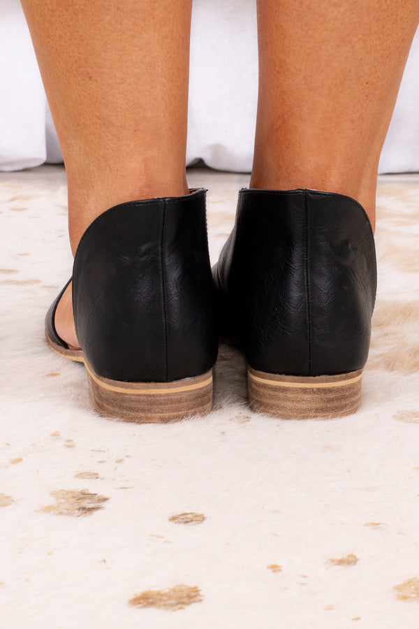 shoes, flats, open toe, tan sole, black
