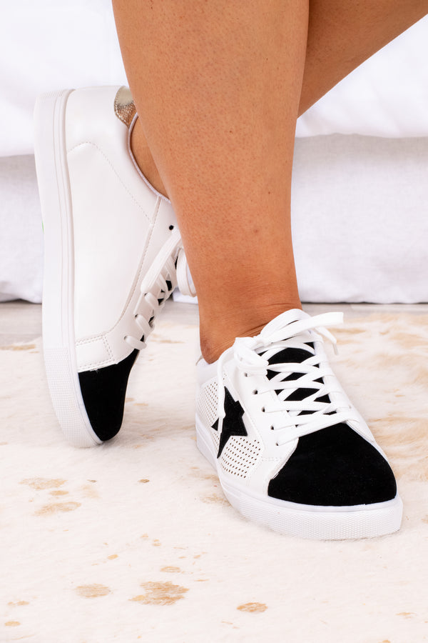 shoes, sneakers, black, white, stars