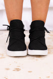 shoes, sneakers, black, strappy, lace up, side zipper detail, high tops, white sole