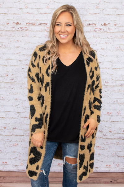 top, cardigan, brown, leopard, long sleeve, tan, layer, fall winter