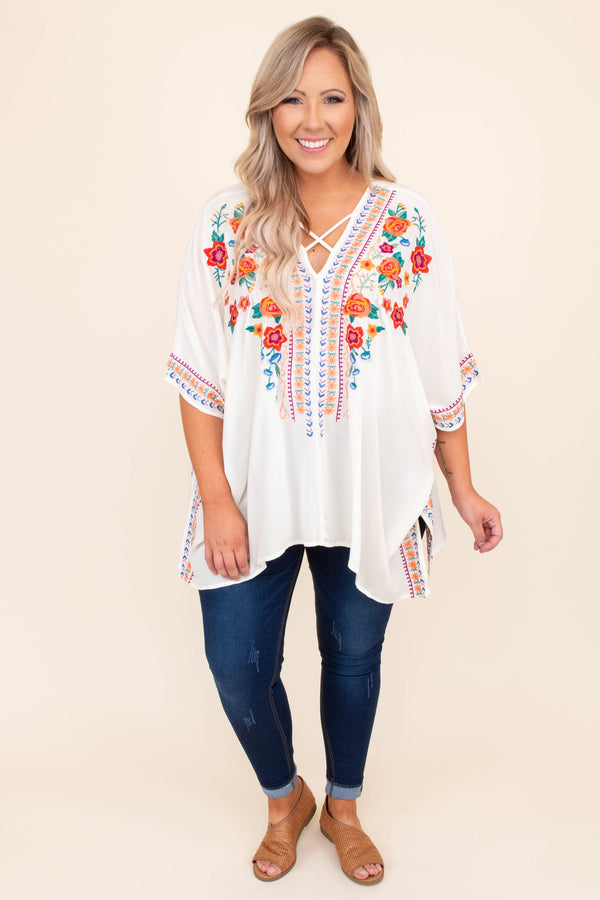 shirt, top, poncho, embroidered, criss cross neckline, cream, red, blue, orange, short sleeve, v neck, long, loose, spring, summer