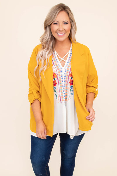 jacket, top, outerwear, mustard, three quarter sleeves, lapels, open front