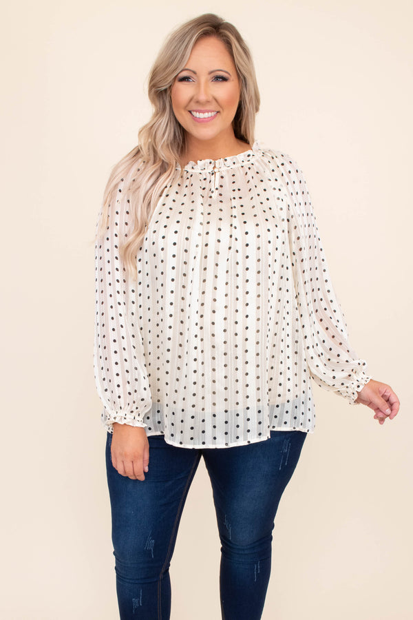 shirt, top, blouse, high neck, polka dot, loose, comfy, cream, blouse
