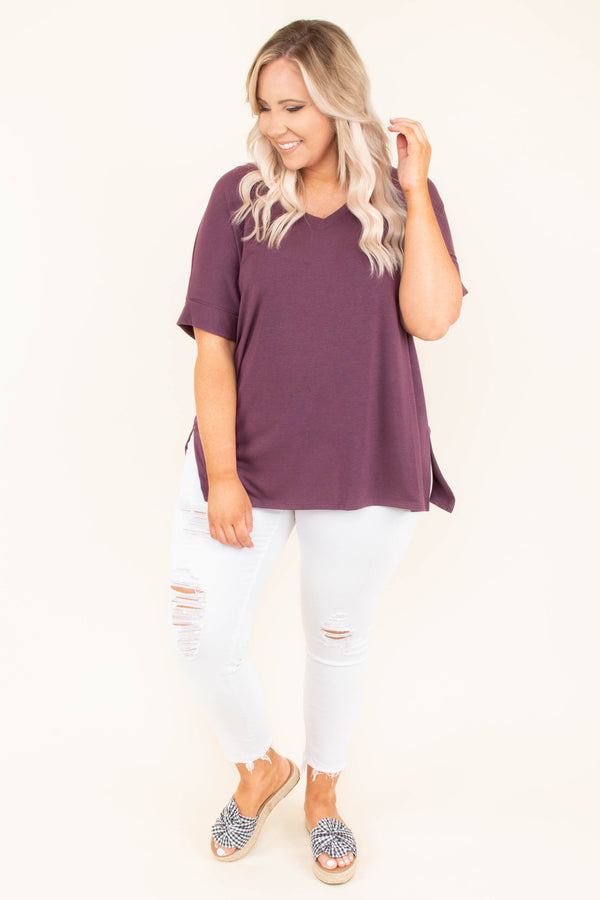 shirt, short sleeve, vneck, side slits, flowy, purple, solid, comfy, cuffed sleeve