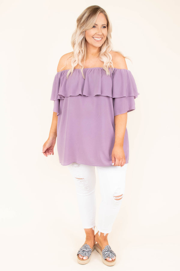 shirt, short sleeve, off the shoulder, ruffle top, flowy, lavender, comfy, spring, summer