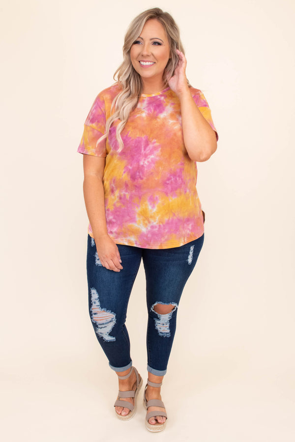 shirt, top, loose, comfy, short sleeve, tie dye, purple, orange, pink