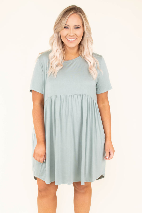 dress, short, short sleeve, curved hem, babydoll, flowy, green, comfy