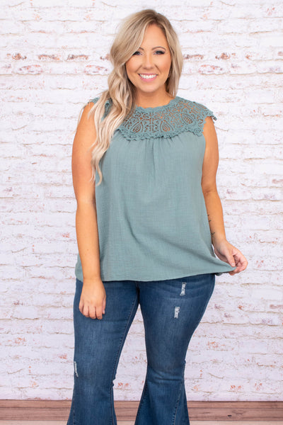shirt, top, tank, sleeve less, lace neckline, sage, loose, comfy