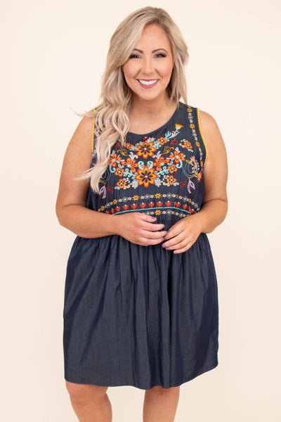 dress, short, sleeveless, thick straps, babydoll, flowy, denim, embroidered, orange, blue, red, green, purple, comfy, spring, summer