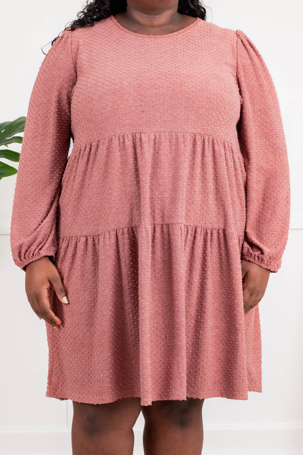 dress, casual dress, pink, solid, bubble sleeve, mauve, flowy, cute, comfy, ruffle