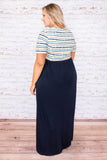 dress, maxi, short sleeve, fitted top, pockets, flowy skirt, navy skirt, striped top, white, yellow, green, blue, comfy