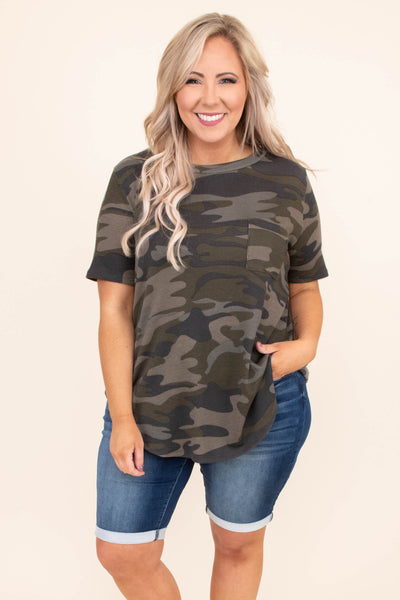 shirt, short sleeve, chest pocket, curved hem, long, loose, green, brown, camo, comfy