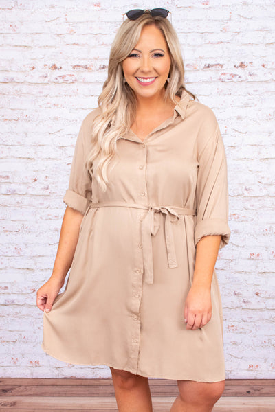 dress, short dress, three quarter sleeves, cuffed sleeves, button front, tie waist, collar, beige