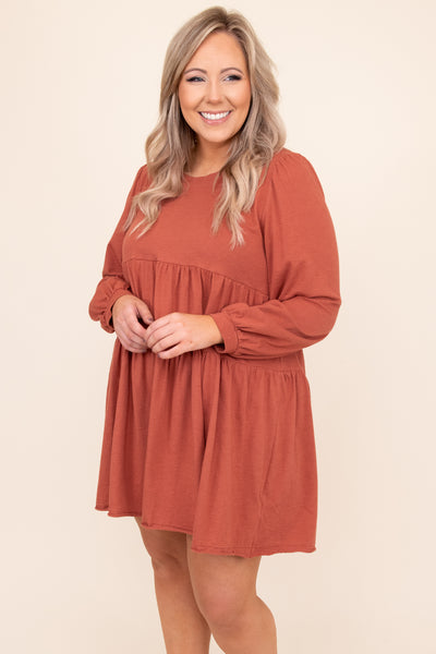 dress, basic dress, babydoll dress, red, solid, long sleeve, winter, comfy, casual