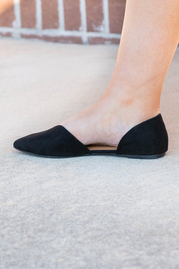 shoes, flats, black, solid, pointed toe