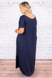 dress, maxi, short sleeve, vneck, curved hem, pockets, side slit, flowy, navy, comfy