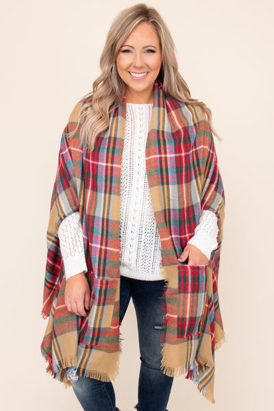 top, kimono, brown, plaid, poncho, red, blue, layering, shawl, frayed